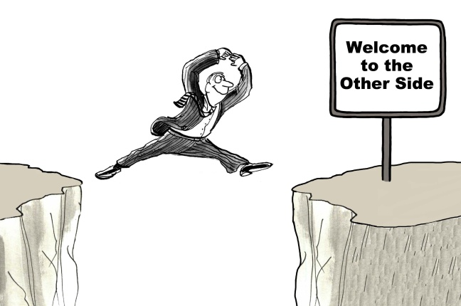 Business cartoon showing businessman with smiling face jumping from one cliff to another cliff.  The second cliff has a sign that reads 'Welcome to the Other Side'.