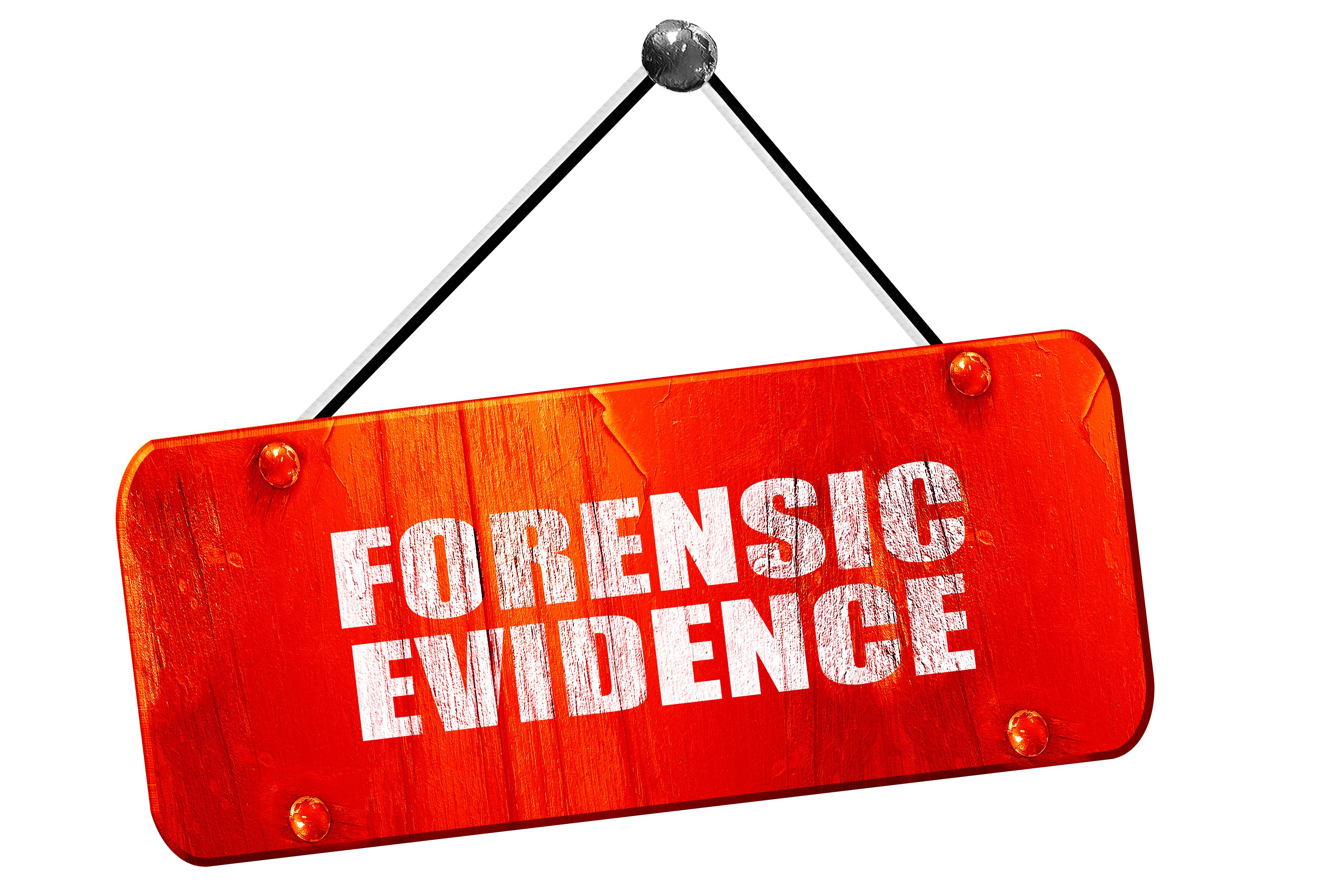 forensic evidence, 3D rendering, vintage old red sign