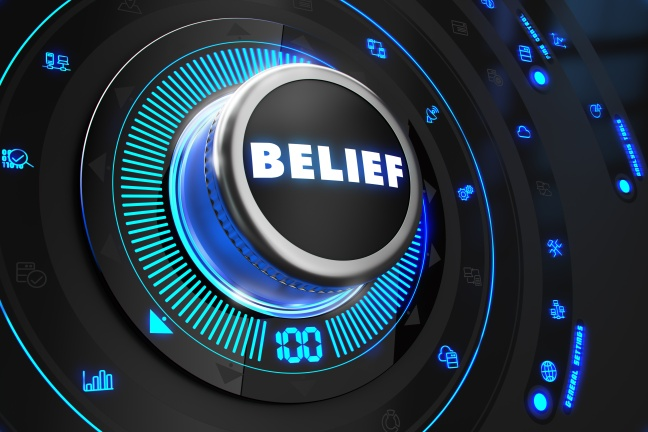 Belief Button with Glowing Blue Lights.