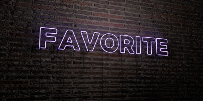 FAVORITE -Realistic Neon Sign on Brick Wall background