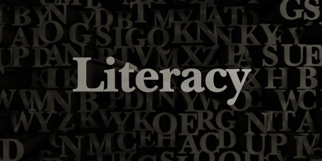 Literacy - 3d rendered metallic typeset