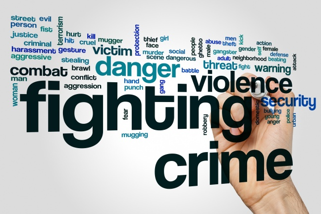 Fighting crime word cloud concept on grey background