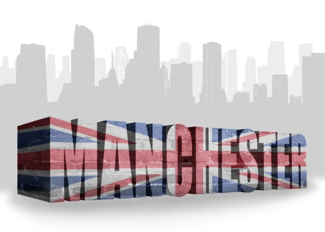 text Manchester with national flag of great britain