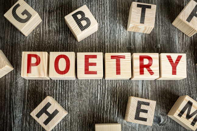 Wooden Blocks with the text: Poetry