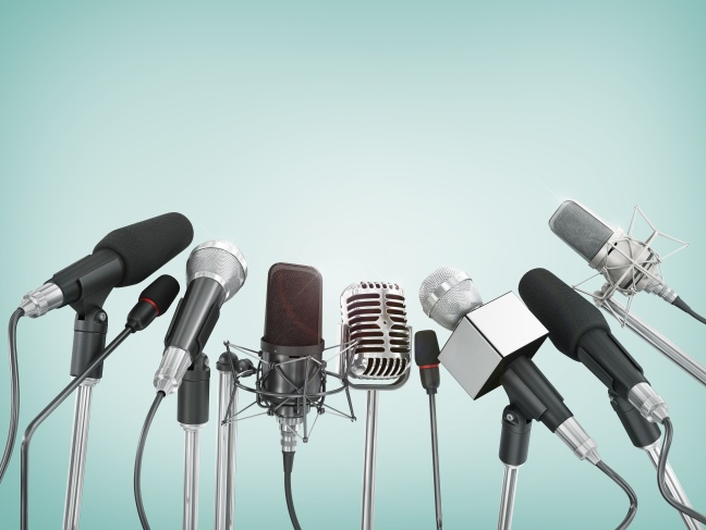 Various microphones aligned at press conference.