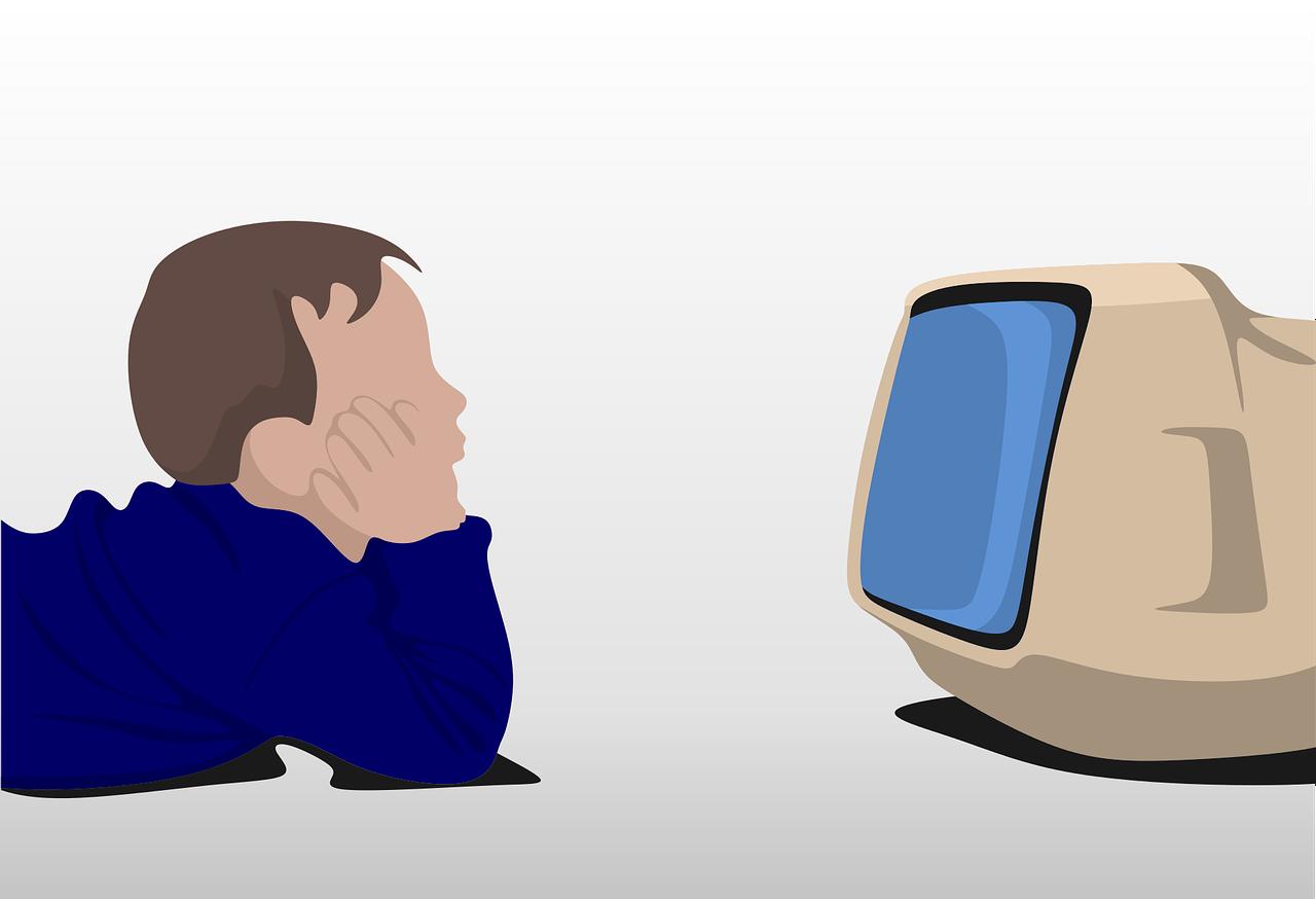 boy watching tv cartoon image