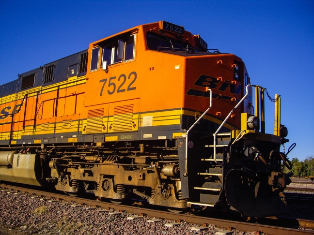 Engine of BNSF Freight Train Locomotive No. 7522