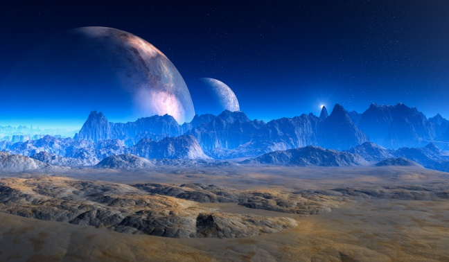 double moon above Crater Landscape on alien Planet.