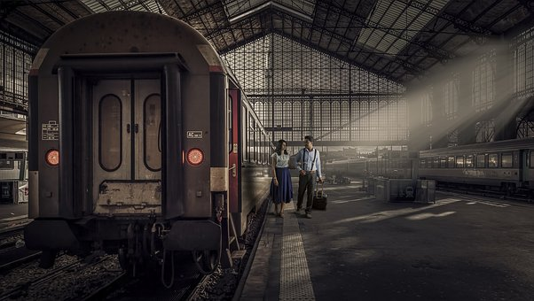 Train in warehouse with couple image
