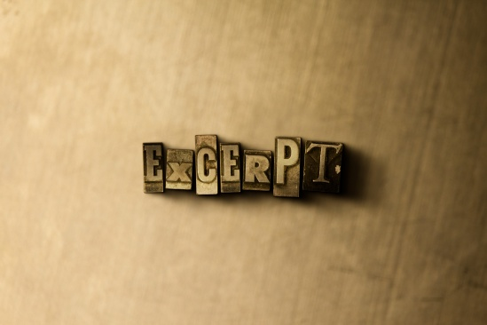 EXCERPT - close-up of grungy vintage typeset - 3D rendered