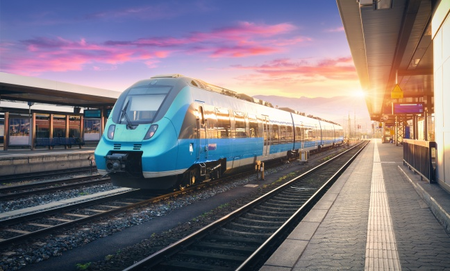 Modern high speed commuter train on the railway station