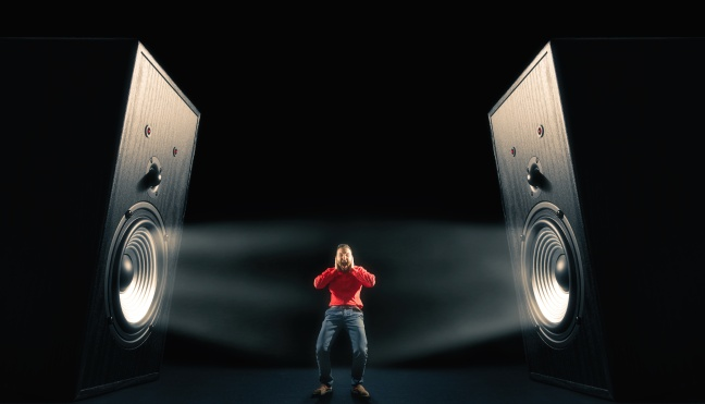 Powerful sound waves with funny sound speakers and screaming man.