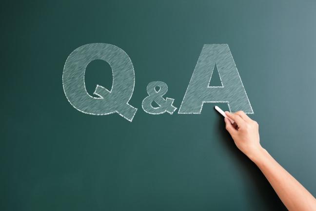 Q&A written on blackboard