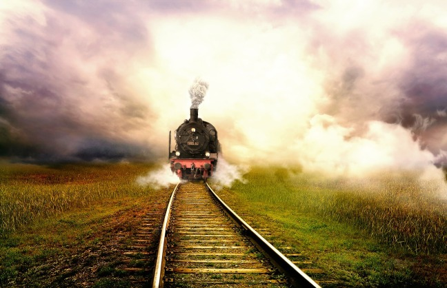 Train with landscape image