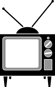 Tv with antenna clip art image